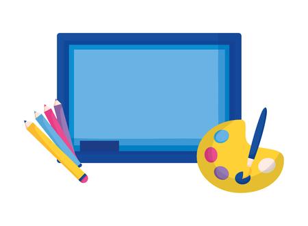 chalkboard pencils color palette education supplies school vector illustration