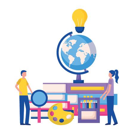 students globe book idea magnifying glass education supplies school vector illustration