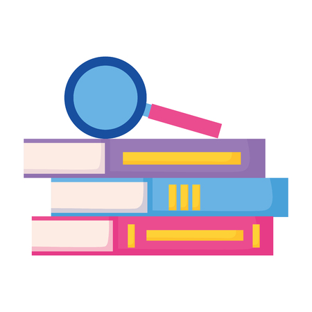 magnifying glass on books education supplies school vector illustration