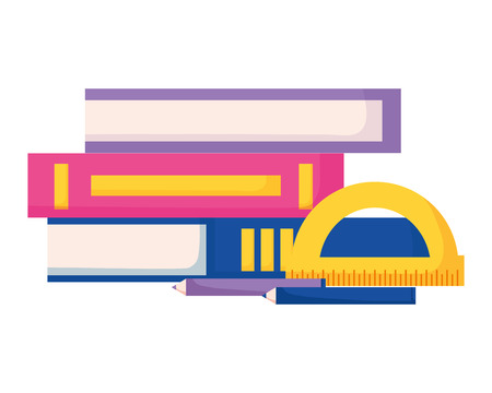 books and protector education supplies school vector illustration