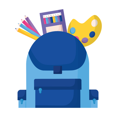 backpack color palette pencils education supplies school vector illustration