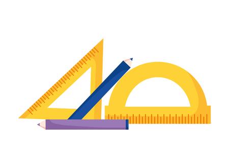 règles géométriques et crayons fournitures scolaires illustration vectorielle de l'école