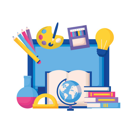 education supplies equipment school vector illustration