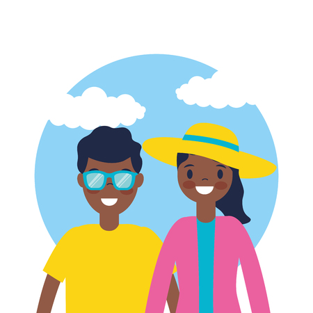 outdoor vacations sticker afroamerican couple smiling vector illustration Foto de archivo - 127541402