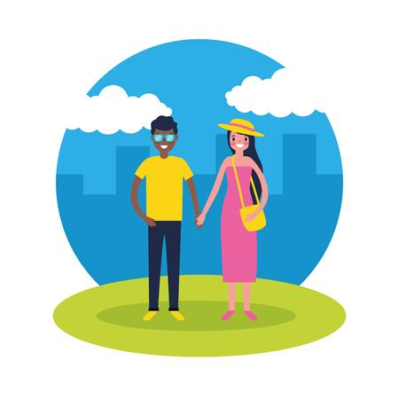 outdoor vacations city park couple holding hands travel vector illustration Foto de archivo - 127541403
