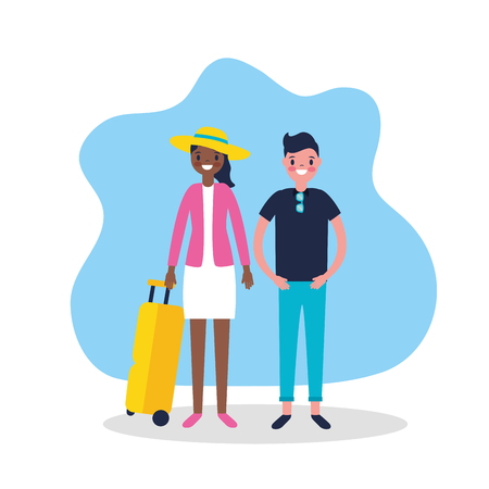 outdoor vacations couple smiling holding luggage travel vector illustration Foto de archivo - 127541404