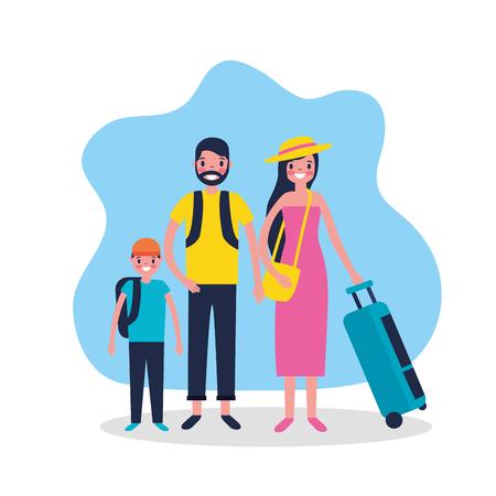outdoor vacations happy family travel sticker vector illustration Standard-Bild - 127541405