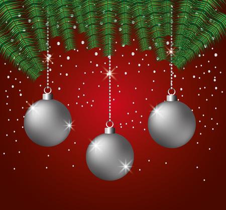 merry christmas balls decoration snow vector illustration 向量圖像