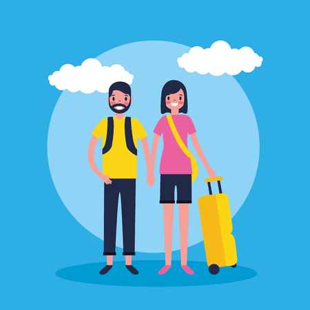 outdoor vacations cute couple holding luggage vector illustration Foto de archivo - 127541414