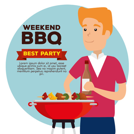 man with sausages and potaties in the grill with bbq vector illustration