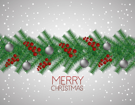 merry christmas balls decoration branches dotted background vector illustration