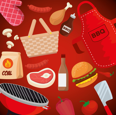 meat with thigh and hamburger food with grill background vector illustration