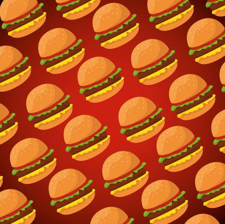 delicious hamburger fast food background vector illustration Standard-Bild - 127543968