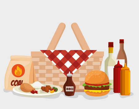 hamburger and thigh food with rice to the bbq sauces vector illustration