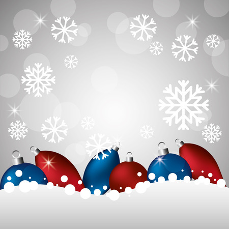 merry christmas snowflakes red and blue balls vector illustration