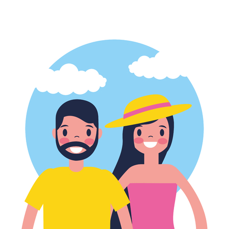 outdoor vacations cute couple smiling woman using hat vector illustration