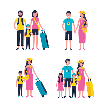 outdoor vacations happy family couple travel luggage vector illustration Çizim