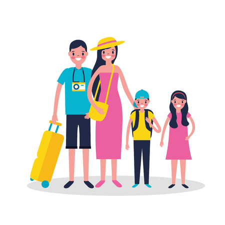 vacations kids and fathers smiling travel vector illustration