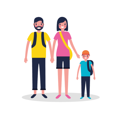 vacations couple with son holding bags vector illustration