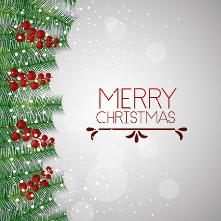 merry christmas sign branches balls vector illustration 向量圖像