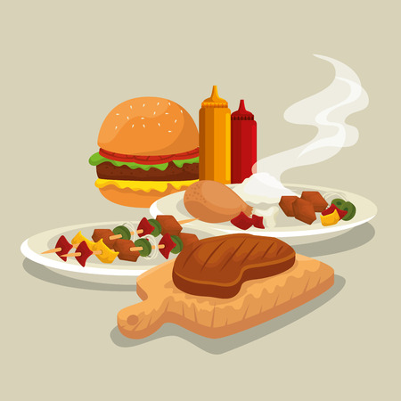 hamburger with thigh and meat food to the bbq vector illustration Standard-Bild - 127543983