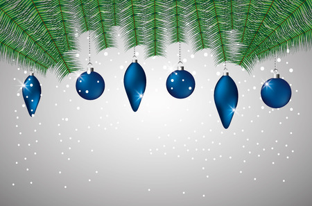 merry christmas blue balls decoration dotted background vector illustration