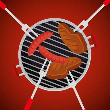 sausages with meats food in the grill to the bbq vector illustration