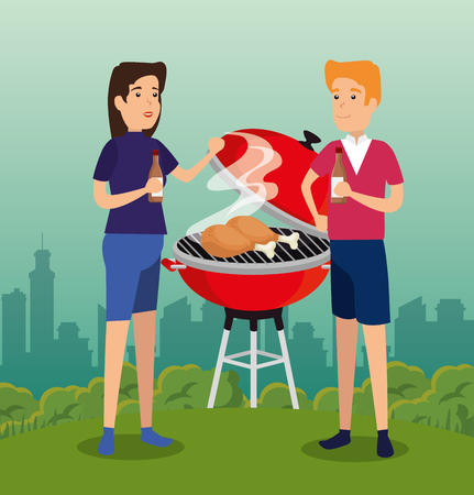 woman and man with grill thighs and bbq sauce vector illustration