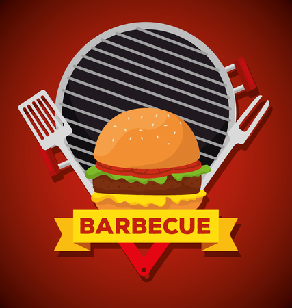 hamburger in the grill with fork and slice utensils vector illustration
