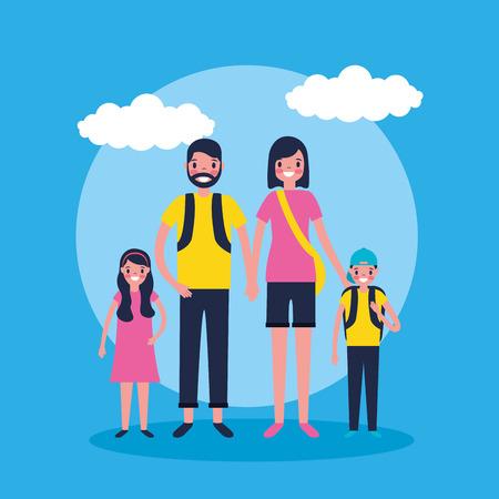 outdoor vacations sticker clouds happy family travel vector illustration Standard-Bild - 127543992
