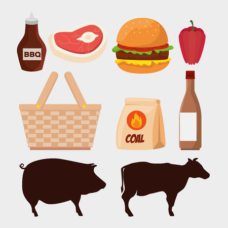 set meat with hamburger and pork with beef vector illustration