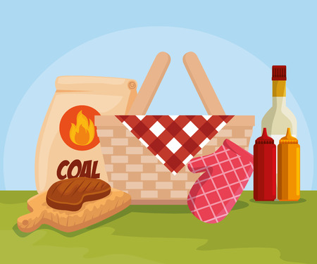 meat food and hamber with bbq and sauces vector illustration