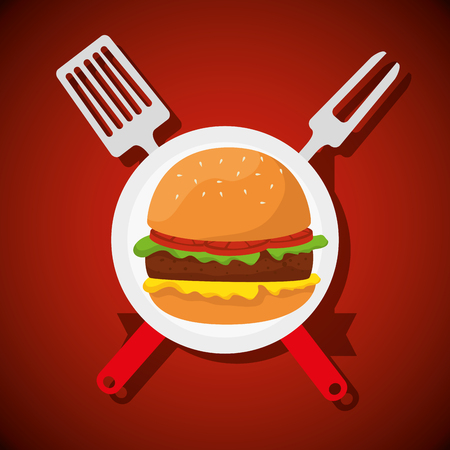 hamburger food with fork and slice utensils vector illustration Illustration