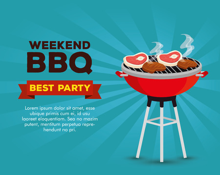 meats food in the grill with bbq sauce vector illustration