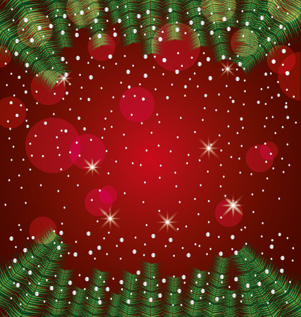merry christmas branches lights dotted background vector illustration