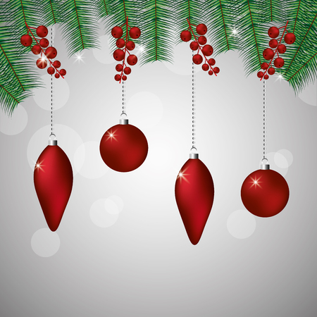 merry christmas decoration balls branches vector illustration