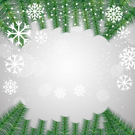 merry christmas green branches snowflakes background vector illustration