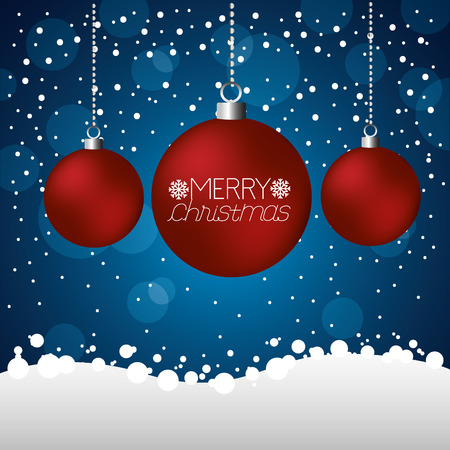 merry christmas red balls snow dotted background vector illustration