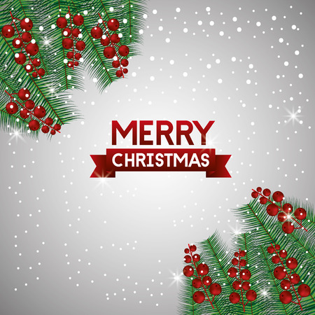 merry christmas sign red balls branches decoration vector illustration Ilustração