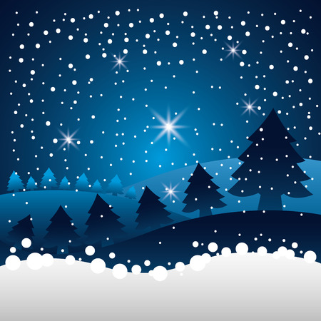 merry christmas stars alps mountains snow vector illustration