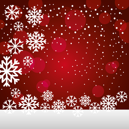 merry christmas snowflakes lights background vector illustration Illustration