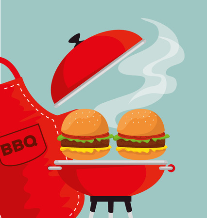 hamburgers in the grill to the bbp sauce and apron vector illustration
