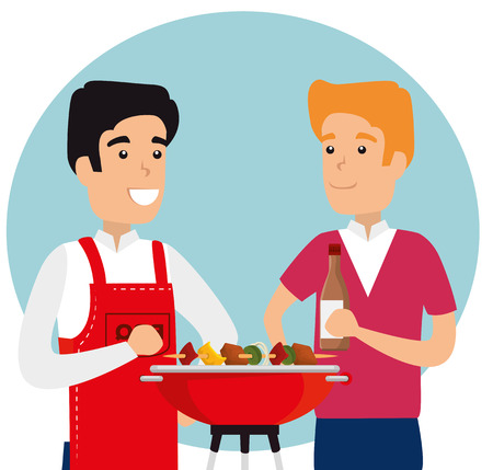 men with sausages and potatoes in the grill to the bbq vector illustration