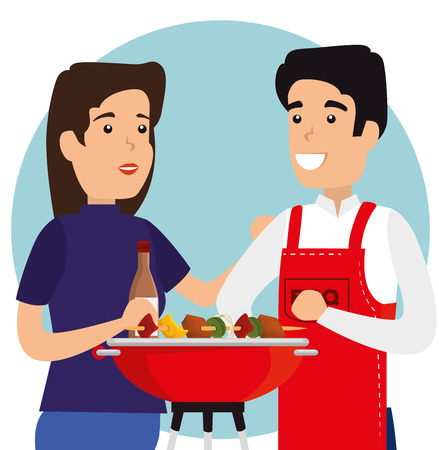 woman and man with sausages in the grill to the bbq vector illustration