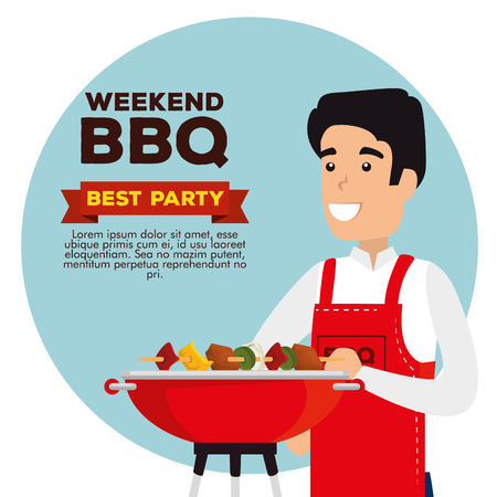 man with sausages and potatoes food in the grill to the bbq vector illustration Archivio Fotografico - 127544012