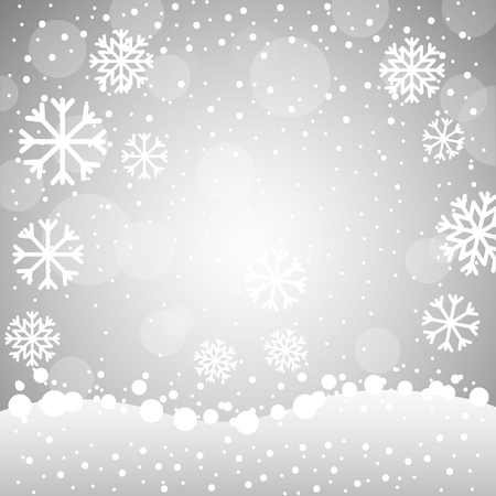 merry christmas snowflakes bubbles background vector illustration