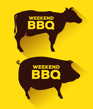 set prok and beef food to the bbq sauce vector illustration