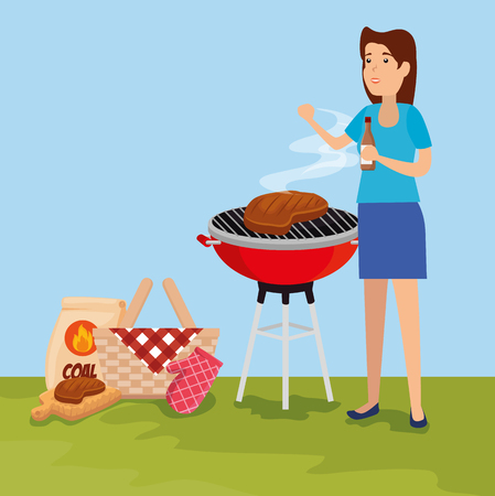 woman with meat food grill and hamper vector illustration 스톡 콘텐츠