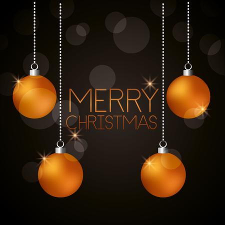merry christmas golden balls lights background vector illustration Illustration