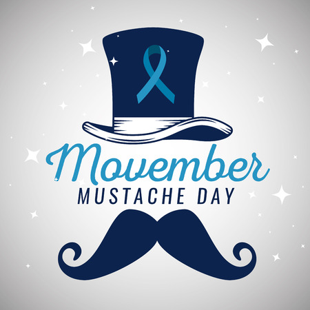 hat with blue ribbon and male mustache vector illustration